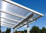 Überdachung Terrasse Bausatz 7x4m Stegplatten und Profile für Unterkonstruktion (opal-weiß)