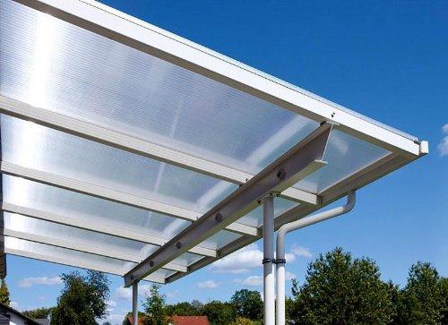 Überdachung Terrasse Bausatz 4x3m Stegplatten und Profile für Unterkonstruktion (klar/farblos)