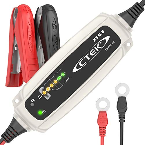 CTEK XS 0.8 Mantenitore di carica automatico (Per il mantenimento della carica di batterie da moto o altri batterie di veicoli di piccole dimensioni) 12V, 0.8 Amp - Presa Euro