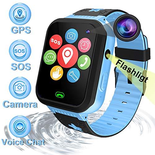 Bambini Smartwatch Orologio intelligente Telefono con GPS Tracker Impermeabile SOS Orologio Call Chat vocale Touch Screen Fotocamera Giochi torce elettriche per Ragazzi Ragazze Regali Braccialetto