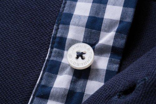 Herren Button-Down-Polo mit modischem Karo-Einsatz Black/Black-White