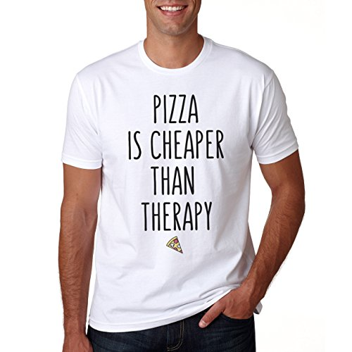 Pizza Is Cheaper Than Therapy Herren T-Shirt Weiß