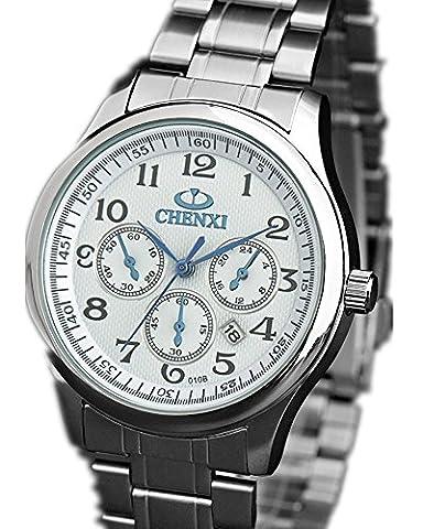 La mode masculine montres montres de luxe multifonctions montre à quartz calendrier montre de cadeau d'affaires Blanc