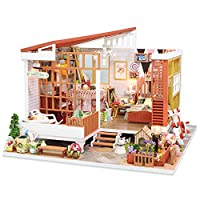 Minsong Luxury Dream in Ancient Town Handmade Furniture Dollhouse Miniature DIY Kit with Light Wood Toy Dolls House Xmas Gift