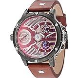 Police Herren Multi Zifferblatt Quarz Uhr mit Leder Armband 15049JSU/12