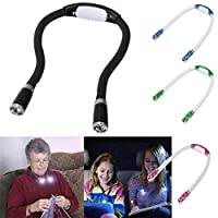 Jiaxingo 4Pcs LED Neck Book Light, 4 LED Hug Light Flexible Neck Lamp for Reading in Bed or Car with Adjustable Brightness, Ideal for Bookworms Kids Crafts Knitting Travel or BBQ