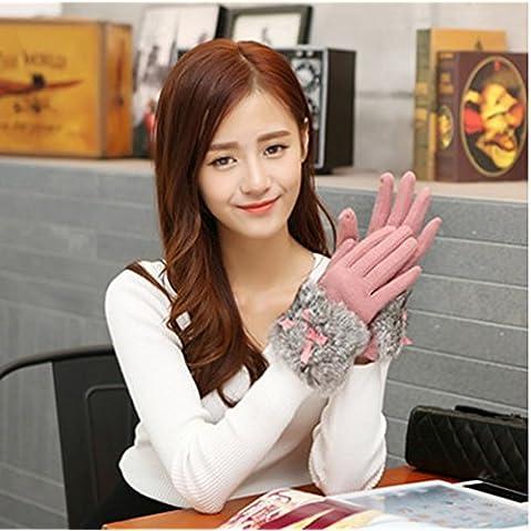 KHSKX Primavera y otoño invierno mujer guantes de lana lindo arco coreano cabello caliente al tacto