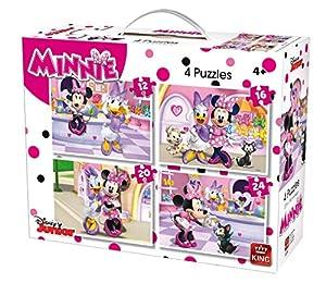 King Disney 4in1 - Rompecabezas (Puzzle Rompecabezas, Dibujos, Niños, Disney, Minnie Mouse, Chica)