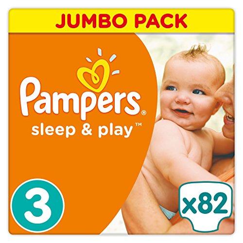 Pampers Sleep und Play Gr. 3, 5-9 kg, Jumbo Pack 82 Windeln, Einfach trocken, 1er Pack (1 x 82 Stück)