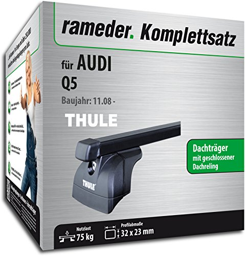 Rameder Komplettsatz, Dachträger SquareBar für Audi Q5 (115988-07534-1)