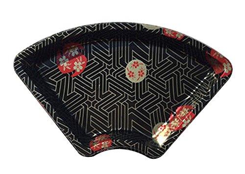 Black Temptation Set von 50 Einweg-Fan-förmigen Sushi-Tray Sashimi Box mit Deckel [A] Black Sushi Tray