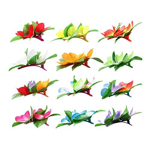 12 Stücke Blume Haarspange Hawaiian Hula Party Kostüm Party Haarschmuck Kunststoff Blume Haarnadel