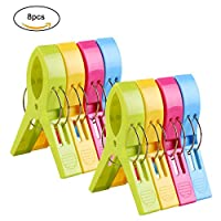 Cikuso Pack of 8 Large Bright Colour Plastic Beach Towel Pegs Clips for Sunbed