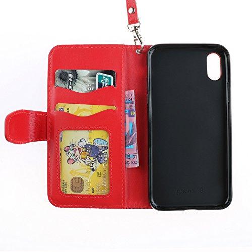 """MOONCASE iPhone X/iPhone 10 Coque, Étui Housse Résilient TPU Shock-absorb Protection [Relief Style] Card Slots PU Cuir Flip Case pour iPhone X 5.8"""" White Rosy"""