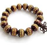 Wood Calligraphy Words Beads Buddhist Prayer Bracelet Mala