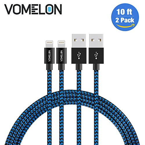 Lightning Kabel, 2Pack 10ft Nylon geflochten Extra lange Tangle-Free Cord Lightning Kabel Zertifiziert für USB iPhone Ladegerät für iPhone 7/7 Plus / 6S / 6 Plus, SE / 5S / 5, iPad, iPod Nano 7 (Ipod-5 Batterie-ladegerät-fall)