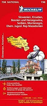 Michelin Slowenien Montenegro Bosnien Kroatien Serbien: Straßen- und Tourismuskarte (Michelin Nationalkarte) hier kaufen