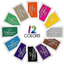 Almohadilla de tinta, Aodoor Almohadilla Tinta para Sello Tampó para usarse con Sellos de Goma sobre Papel, Madera, Tela(12 colores)