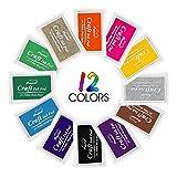 Tampone di inchiostro, Aodoor Un set di 12 Colore Ink Pad Inchiostro Timbri per carta, legno, tessuto, Scrapbooking DIY