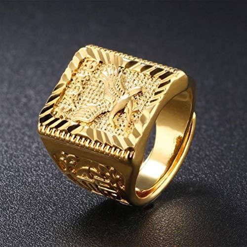 Thumby Vergoldeter Dapeng-Flügel aus 18 Karat Gold Dominierender Lokaler Goldring für Herren Preisring, Partygeometrie, Opal, 18 Karat Gold plattiert, einstellbar