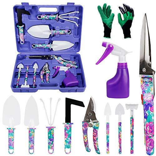HANXIN Outils Jardinage Kit Outils de Jardinage 11 Pcs Gants Jardinage Transplantoirs Ciseaux Herse Anti-Rouille Pulvérisateur Et Boîte, Outil à Main de Jardinage pour Femmes Enfants