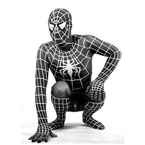YIWANGO Schwarzes Spiderman Super Skin Kostüm - Adult Zentai Batman Strampelanzug Outfit Halloween Lycra Siamesische Strumpfhose Masquerade Superhero Set,X-Small