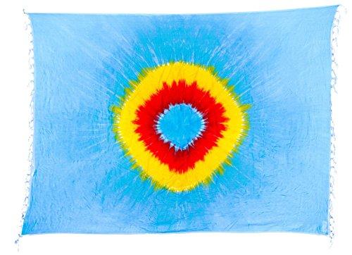 Sarong Pareo Dhoti Lunghi ca. 170cm x 110cm Blau Grün Gelb Rot mit Batik Motiv Tie Dye Handgefertigt und Kokosnuss Schnalle im Schmetterling Design (Blau Grün Tie-dye)