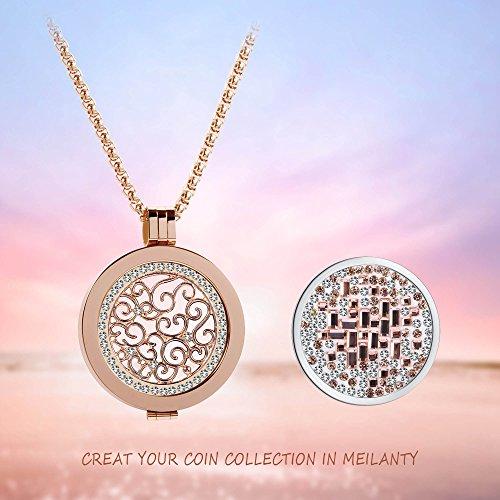 Meilanty Kette Damen Coin 33mm Mit Anhänger Edelstahl Rolo Halskette 80cm Roségold