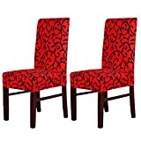 MultiWare Stretch Chair Seat Cover 2 Pcs Removable Washable Dining Room Stool Chair Slipcovers(Red and Black)