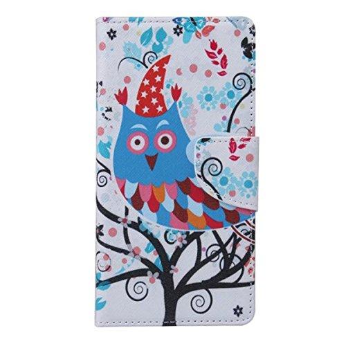 Etche Schutzhülle für iPhone 6S/6 4.7 Zoll Ledertasche,iPhone 6S/6 4.7 Zoll HandyHülle bunt Muster,iPhone 6S/6 4.7 Zoll wallet Schutzhülle, niedlich bunt kreativ hübsch Blumen Flip Cover PU Leder Case Eule Bau