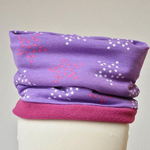 Fleeceloop Schal Sterne lila pink Mädchen für 1-4 Jährige