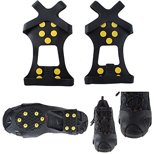 Lintimes 10 Steel Studs Ice Cleats Ice & Snow Grips Over Shoe/Boot Traction Cleat Rubber Spikes Anti Easy Slip On XL