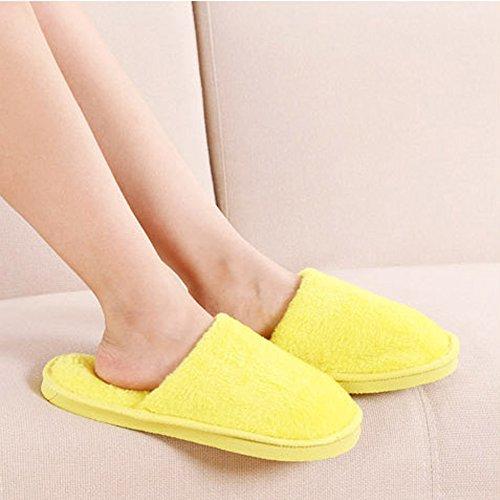 KINDOYO Hiver Chaud Pantoufles Hommes & Femmes Coton Confortable Chaussures Peluche Chaussons Jaune (femme)