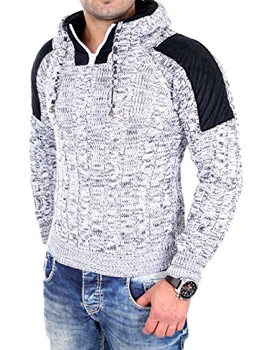 Tazzio TZ-3570 Herren Winterpullover/Grobstrick-Pullover, mit Aufnähern 16483 Weiß