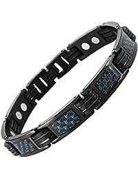 Willis judd - Pulsera magnética de titanio para hombre con inserciones de fibra, color azul