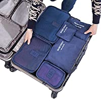 LA HAUTE 6pcs Travel Luggage Organisers Packing Cubes Compression Pouches Waterproof Storage Bags Navy Blue
