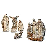 Loberon Figur 9er Set Liré, Weihnachten, Weihnachtsfigur, Polyresin, H/B/T ca. 29/14 / 13,5 cm, Creme
