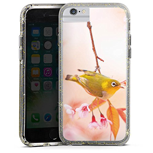 Apple iPhone 6s Bumper Hülle Bumper Case Glitzer Hülle Bird Vogel Natur Bumper Case Glitzer gold