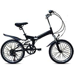 LHLCG Frein d'amortisseur V de Vitesse de Pliage de Bicyclette 6 de Vitesse de 20 Pouces approprié à la Taille 135-185cm,Black