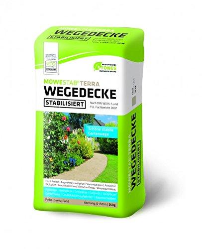 STONES ECO stabilisierte Wegedecke MOWESTAB TERRA 25 kg für stabile Gartenwege - Crema-Sand 0-8 mm 25 kg
