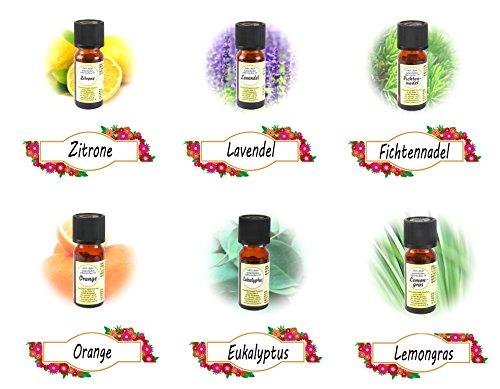 * 6er-Set rein natürliche ätherische Öle | Sechs verschiedene Düfte: Lavendel Lemongras Zitrone...