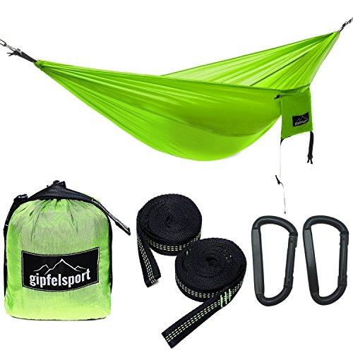 gipfelsport Hängematte - Outdoor Reisehängematte mit Aufhängeset, 2xGurte, grün