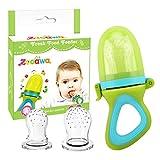 Zooawa Baby Fruchtsauger, 3 unterschiedlich Groß Essen und Obst Schnuller Obstschnuller Silikon Gemüse Sauger mit Schutzklappe für Kinder, BPA frei, für über 3 Monate Baby, Grün/Blau