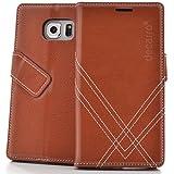 Handyhülle Samsung Galaxy S6 Hülle Lederhülle mit Panzerglas Schutzhülle Handytasche Case Cover mit Stand Kartenfächer Geldscheinfach Braun