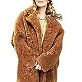 TWBB Damen Wintermantel Einfarbig Plus Size Lange Mantel Winter Faux Fur Kunstfell Warm Wintercoat Outwear Elegant Warm