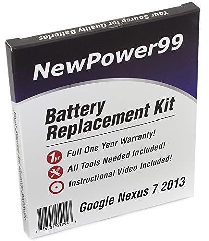 Kit de Remplacement de Batterie pour Google Nexus 7 2013 (Asus Nexus 7 2ème Génération) Tablet avec Vidéo d'Installation, Outils, et Batterie longue durée.