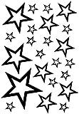Samunshi® Sterne Aufkleber Set Outline 14x2,5cm6x5cm2x7,5cm1x10cm schwarz