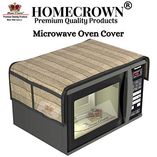 Home Crown Decorative Cotton Microwave Cover with 4 Storage Pockets for 20-30 L Oven (Beige, 15X36 inch)