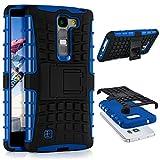 ONEFLOW LG G4c | Hülle Silikon Hard-Case Blau Outdoor Back-Cover Extrem Stoßfest Schutzhülle Grip Handyhülle für LG Magna/G4c Case Rückseite Tasche