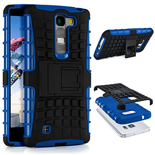 LG G4c Hülle Silikon Hard-Case Blau [OneFlow Outdoor Back-Cover] Extrem Stoßfest Schutzhülle Grip Handyhülle für LG Magna/G4c Case Rückseite Tasche